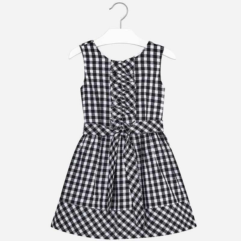 SS18 Mayoral Older Girls Black & White Gingham Dress 6950