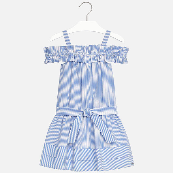 SS18 Mayoral Older Girls White & Blue Striped Bardot Dress 6960