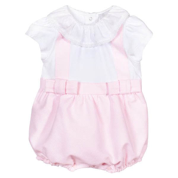 SS19 Patachou Baby Girls White & Pink Bow Romper
