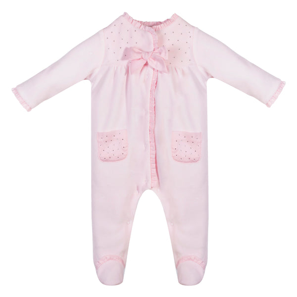 SS19 Patachou Baby Girls Pink Velour Crystal Babygrow