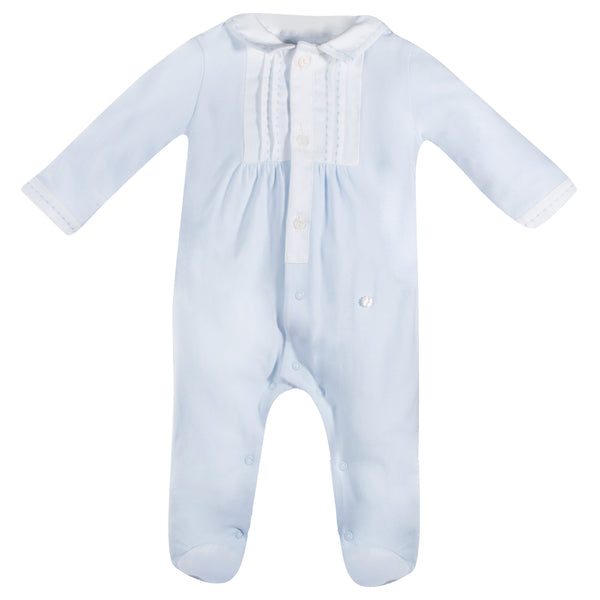 SS19 Patachou Baby Boys Blue & White Stitched Detail Babygrow