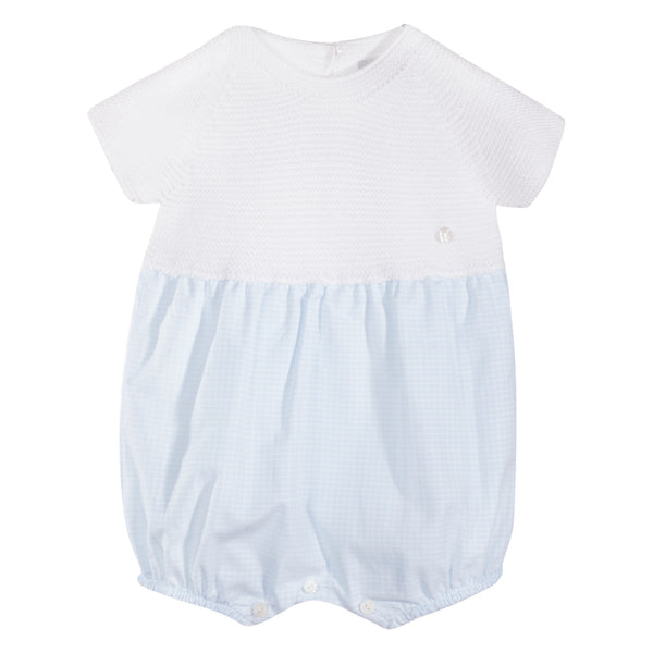 SS19 Patachou Baby Boys Blue & White Knit Romper