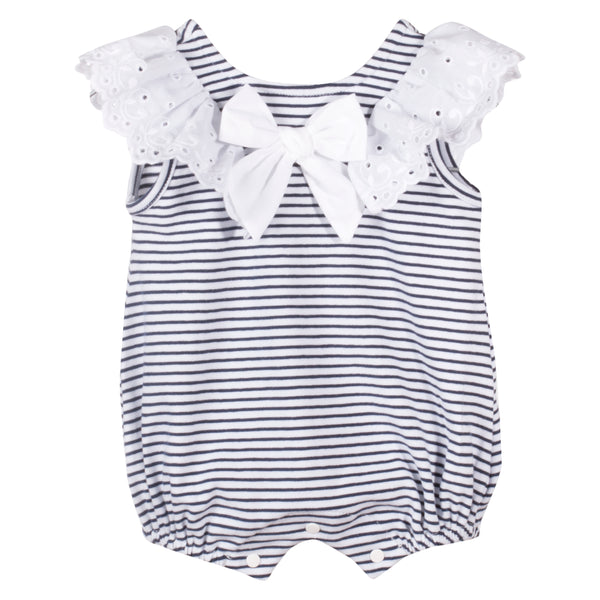 SS19 Patachou Baby Girls Navy Blue & White Stripe Frill Romper