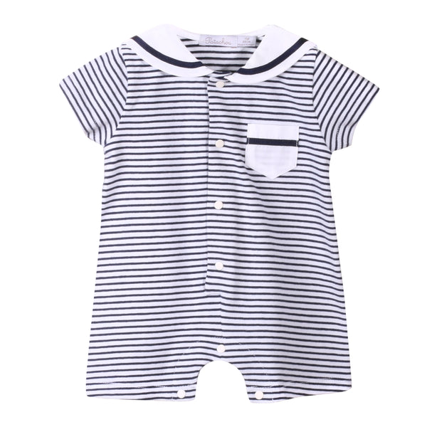 SS19 Patachou Baby Boys Navy Blue & White Sailor Romper