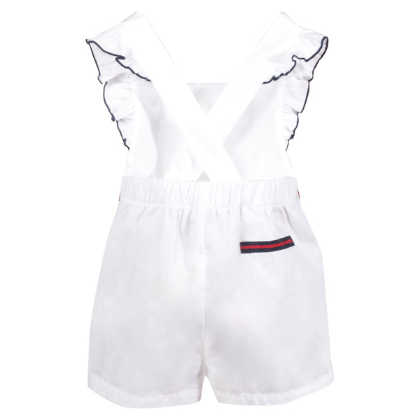 SS19 Patachou Girls White & Navy Bow Playsuit