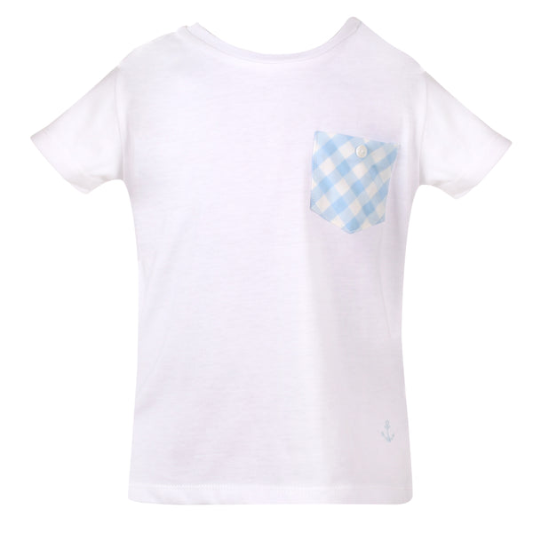 SS19 Patachou Boys Blue & White Check Pocket Top