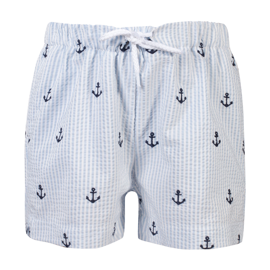 SS19 Patachou Boys Blue & White Stripe Anchor Swim Shorts