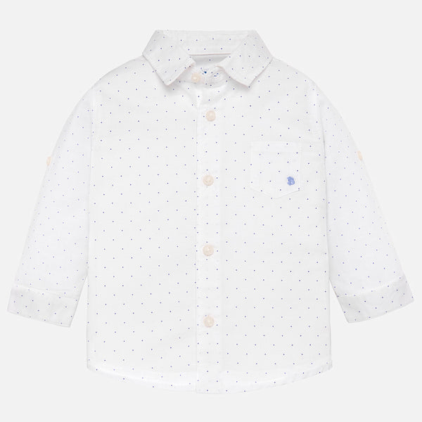 SS19 Mayoral Toddler Boys White Linen Shirt 117