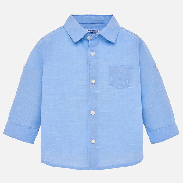 SS19 Mayoral Toddler Boys Pale Blue Linen Shirt 117