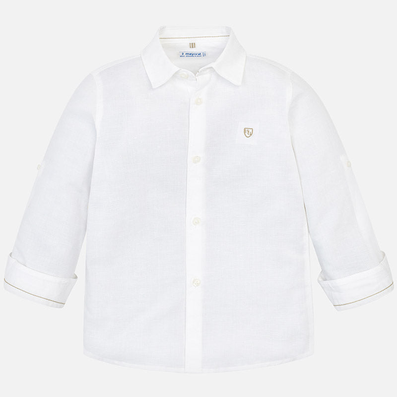 SS19 Mayoral Boys White Linen Shirt 141