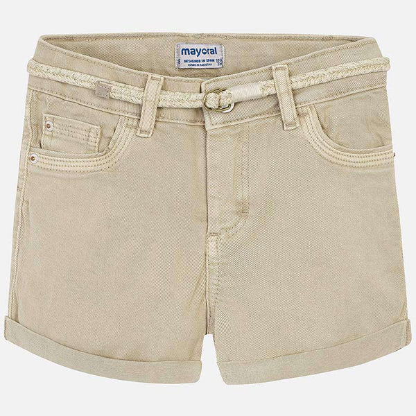 SS19 Mayoral Older Girls Camel Denim Shorts 275