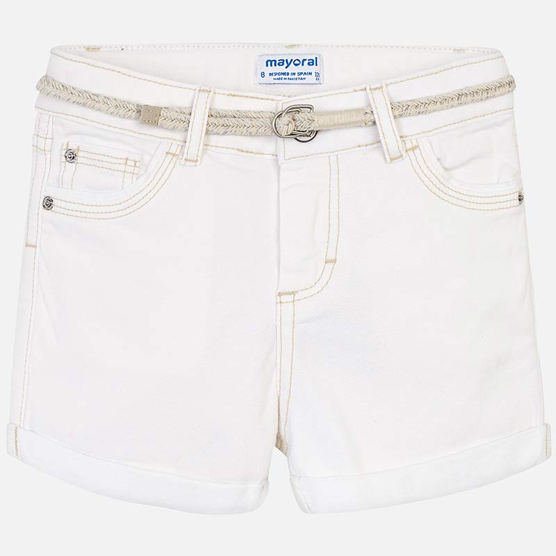 SS19 Mayoral Older Girls White Denim Shorts 275