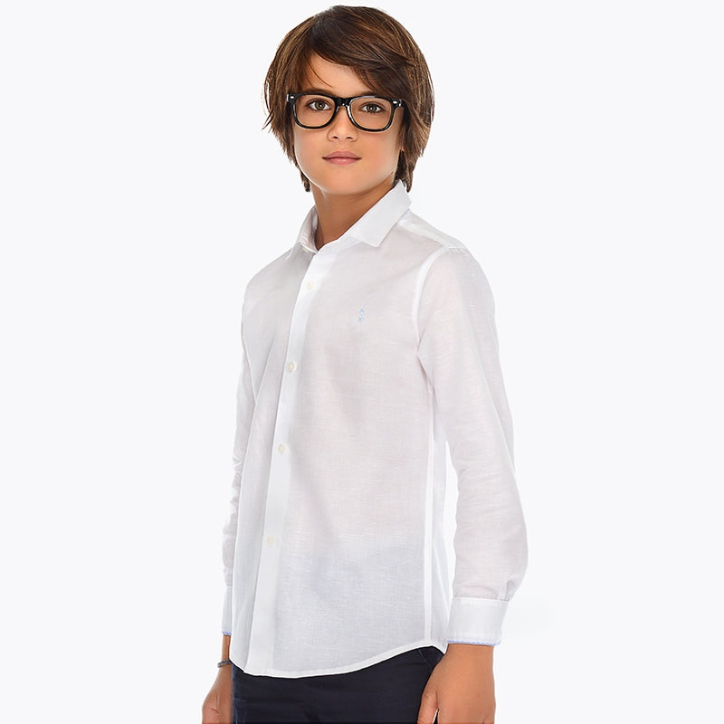 SS19 Mayoral Older Boys White Long Sleeved Shirt 872