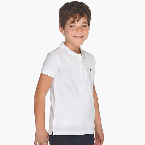 SS19 Mayoral Older Boys White Polo Top 890