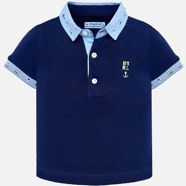 SS19 Mayoral Toddler Boys Navy Blue Polo Top 1114
