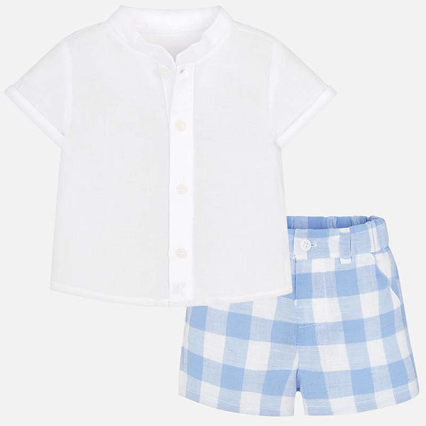 SS19 Mayoral Baby Boys Blue & White Gingham Shorts Set 1210