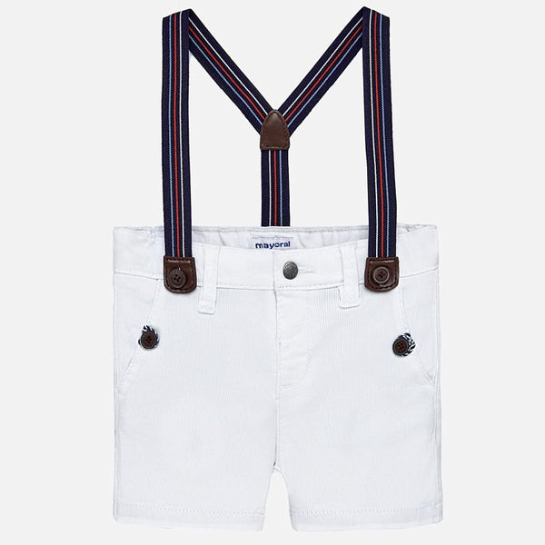 SS19 Mayoral Toddler Boys White Chino Shorts & Braces 1244