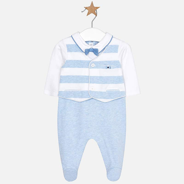 SS19 Mayoral Baby Boys Blue & White Striped Waistcoated Babygrow 1616