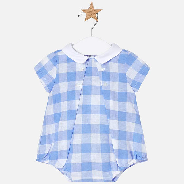 SS19 Mayoral Baby Boys Blue & White Check Romper 1628