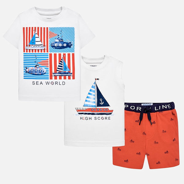 SS19 Mayoral Toddler Boys Orange & Blue 'Sea World' Shorts Set 1642