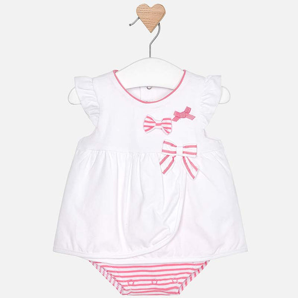 SS19 Mayoral Baby Girls Pink Striped Romper 1801