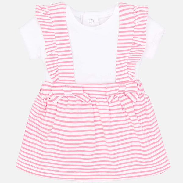 SS19 Mayoral Baby Girls Pink & White Striped Pinafore Set 1811