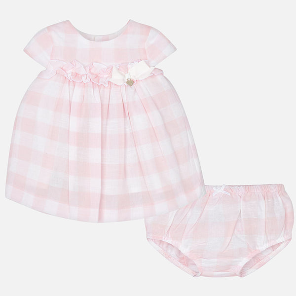 SS19 Mayoral Baby Girls Pink & White Check Dress & Knickers Set 1829