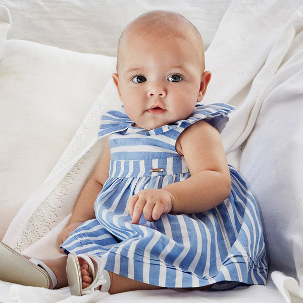 SS19 Mayoral Baby Girls Blue & White Stripe Dress & Knickers 1835