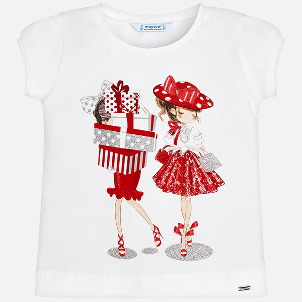 SS19 Mayoral Girls White & Red Fashion Girls Top 3011