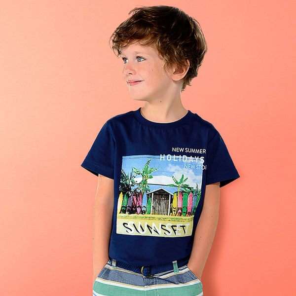 SS19 Mayoral Boys Steel Blue Sunset T-Shirt 3033