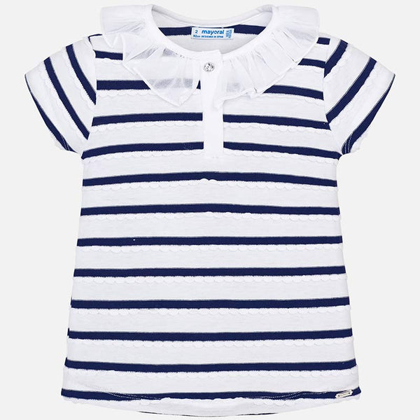 SS19 Mayoral Girls Navy Blue & White Stripe Top 3102