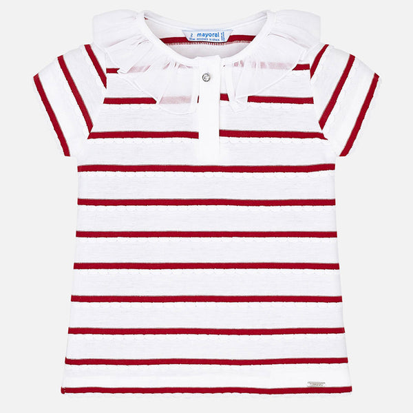 SS19 Mayoral Girls Red & White Stripe Top 3102