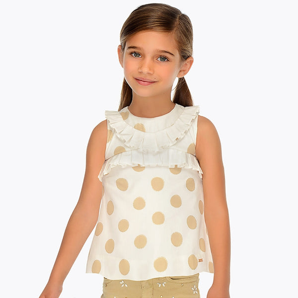 SS19 Mayoral Girls Ivory & Gold Blouse 3105