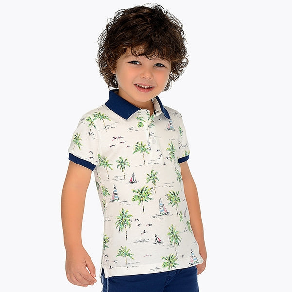 SS19 Mayoral Boys Palm Tree Polo Top 3119
