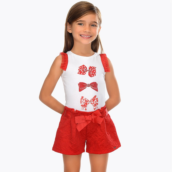 SS19 Mayoral Girls Red Jacquard Print Bow Shorts 3201