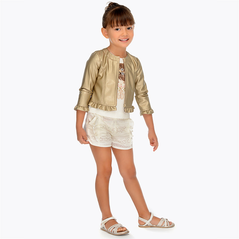 SS19 Mayoral Girls Broderie Anglaise Ivory Shorts 3207