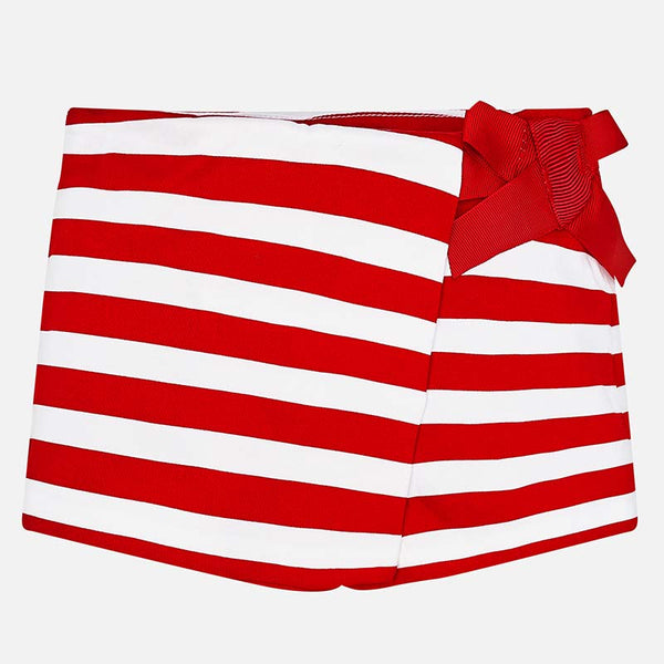 SS19 Mayoral Girls Red & White Stripe Bow Shorts 3208