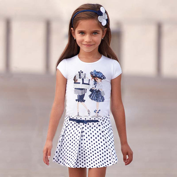 SS19 Mayoral Girls White & Navy Polka Dot Skort 3211