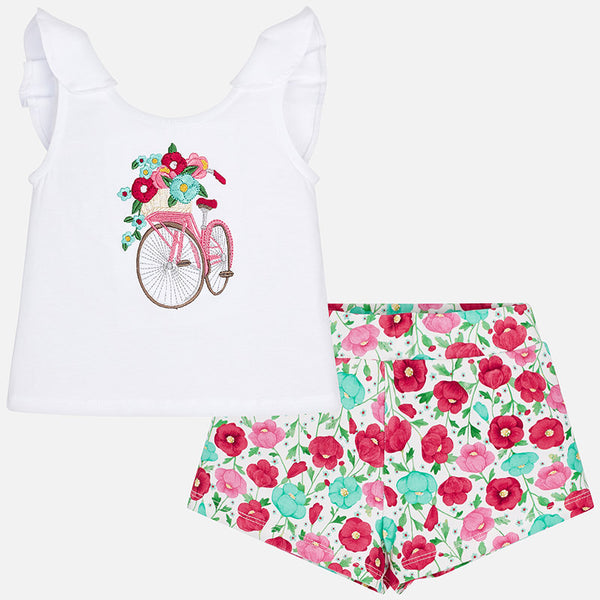SS19 Mayoral Girls Floral Embroidered Shorts Set 3219