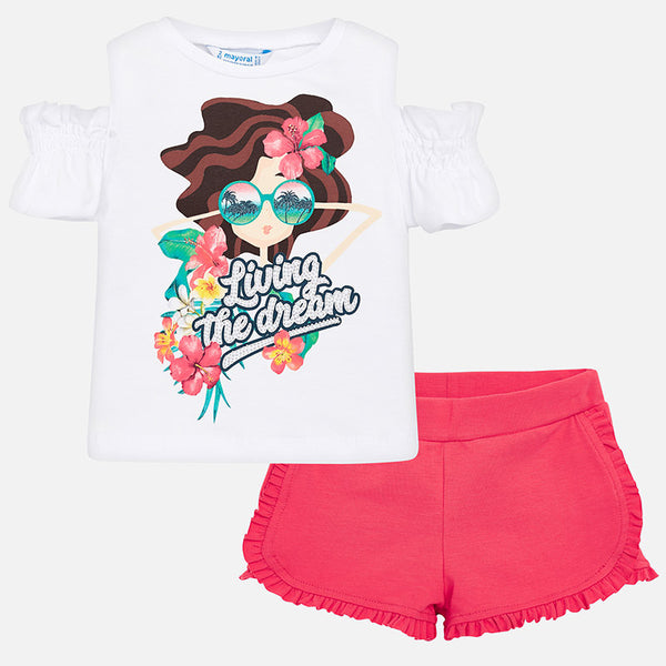 SS19 Mayoral Girls Pink 'Living The Dream' Shorts Set 3220