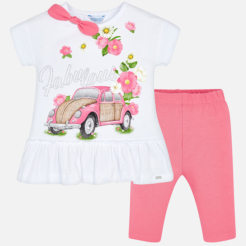 7fb315ae9bccf7 SS19 Mayoral Girls Bubblegum Pink 'Fabulous' Leggings Set 3509 ...