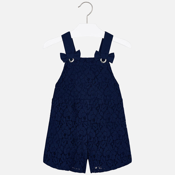 SS19 Mayoral Girls Navy Blue Lace Playsuit 3602