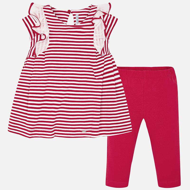 8b2851ccccc2ce SS19 Mayoral Girls Red & White Stripe Leggings Set 3706 – Liquorice Kids
