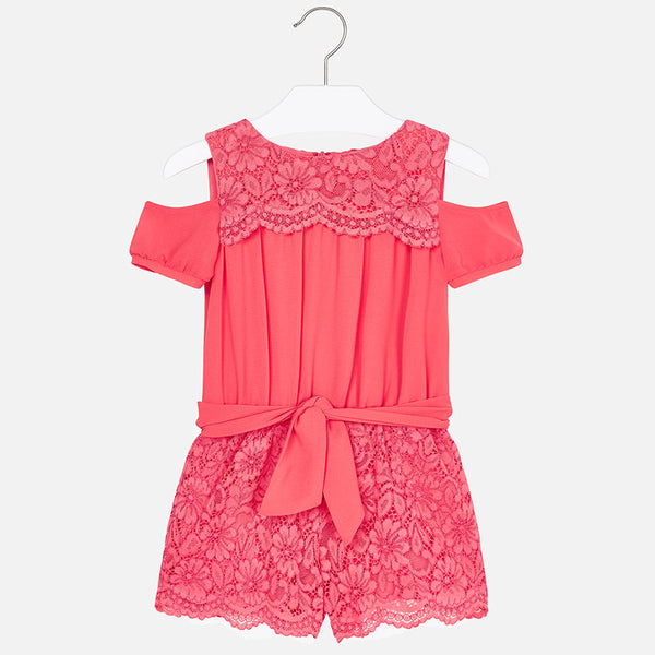 SS19 Mayoral Girls Coral Lace Playsuit 3801