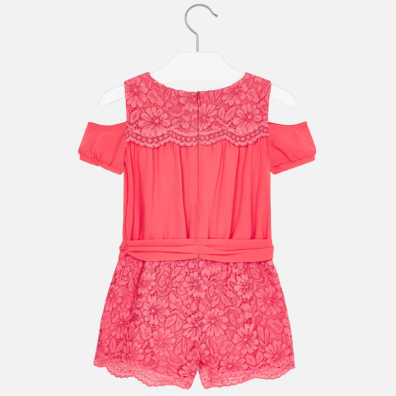 15dfc781120 SS19 Mayoral Girls Coral Lace Playsuit 3801 – Liquorice Kids