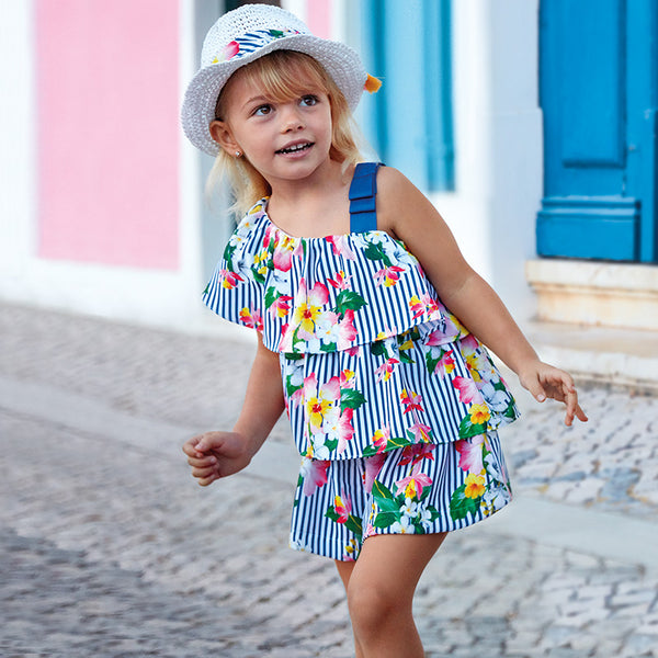 SS19 Mayoral Girls Navy Blue & White Stripe Floral Playsuit 3805