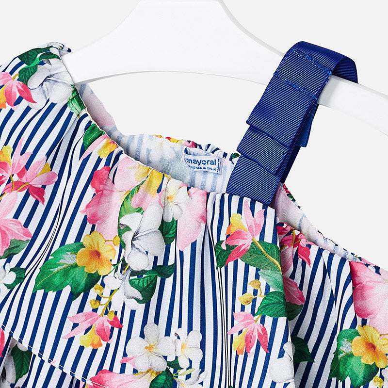 0062376e42 SS19 Mayoral Girls Navy Blue   White Stripe Floral Playsuit 3805 ...