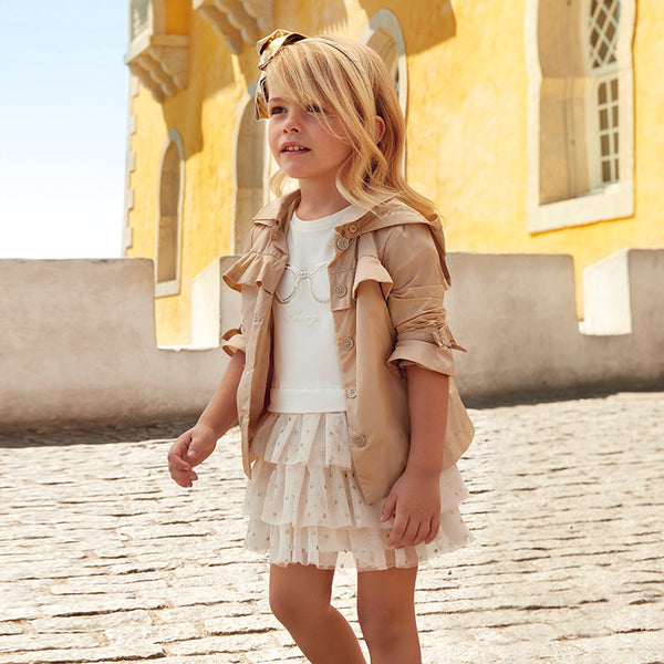 SS19 Mayoral Girls Ivory & Gold Tulle Skirted Dress 3939