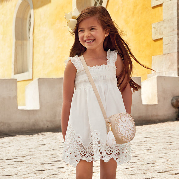 SS19 Mayoral Girls Cream Lace Dress 3940
