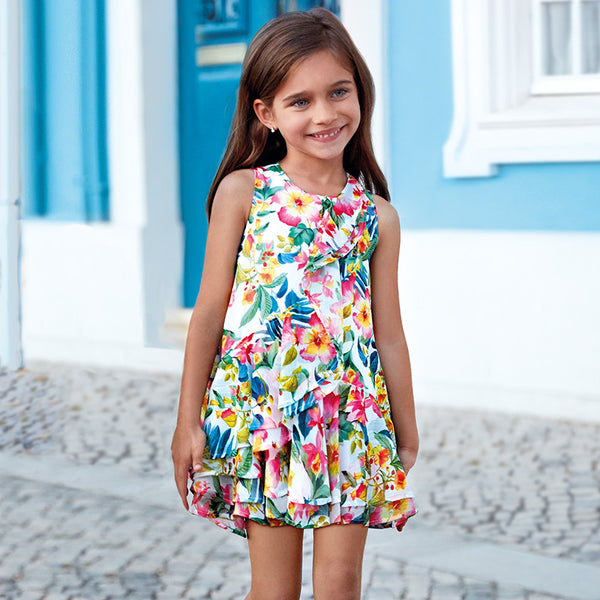 SS19 Mayoral Girls Tropical Print Dress 3941